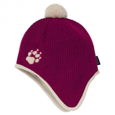 Jack Wolfskin Kids Knitted Pompom Cap - grape-red / S
