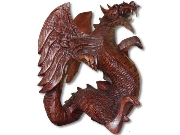 Drachen / Dragon Skulptur, Holzschnitzerei 20cm mit Flügel