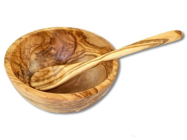 Olivenholz Müslischale mit Löffel 15cm