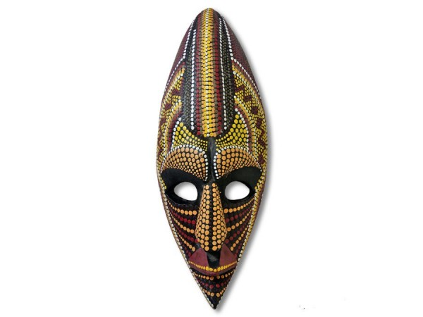Maske aus Abeziaholz mit Dotpaint-Bemalung 30cm