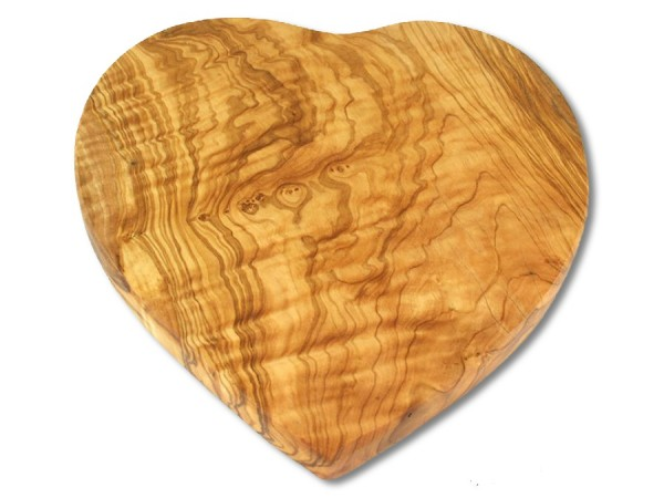 Olivenholz Frühstücksbrett Herzform 25cm