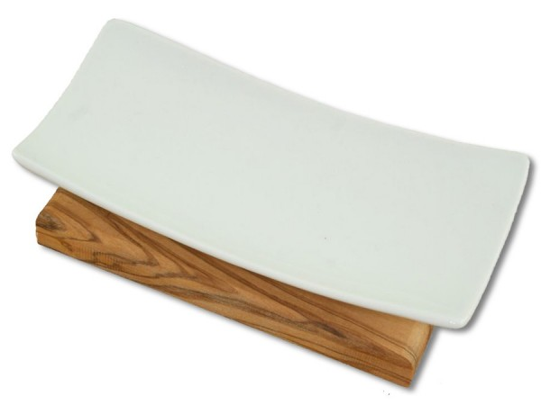 Porzellan-Seifenablage aus Olivenholz 14cm