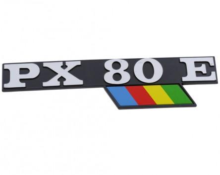Schriftzug Aufkleber Sticker für Seitenhaube PX80E schwarz/alu/bunt 130x33mm