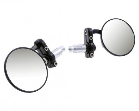 Spiegel MOTOPROFESSIONAL Alu, rund, schwarz, mit Gelenk