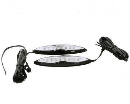Seitenmarkierungsleuchte LED selbstklebend, lang, schwarze Basis, Klarglas, gelb