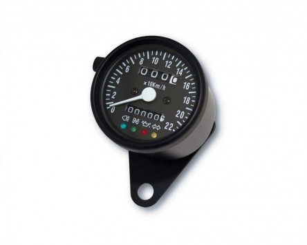 Tacho Motorrad D= 60mm, bis 220 km/h, 60 km/h = 1400 RPM (K 1.4) Metallgehäuse