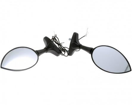 Spiegel STANDARD mit LED Blinker, schwarz, Paar, Motorrad