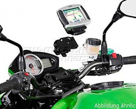 GPS / Navi Halter QUICK-LOCK. Schwarz. Vibrationsgedämpft. Kawasaki ER-6N, 09-10