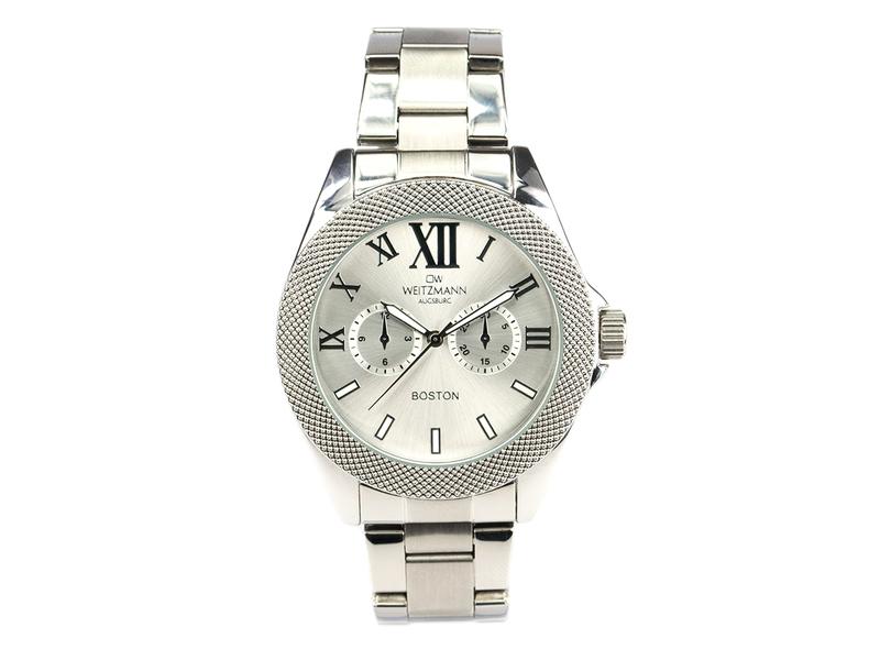 Boston, elegante Herren-Uhr, mit silbernem Zifferblatt, mit Edelstahlband