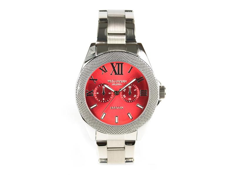 Boston, elegante Herren-Uhr, mit rotem Zifferblatt, mit Edelstahlband