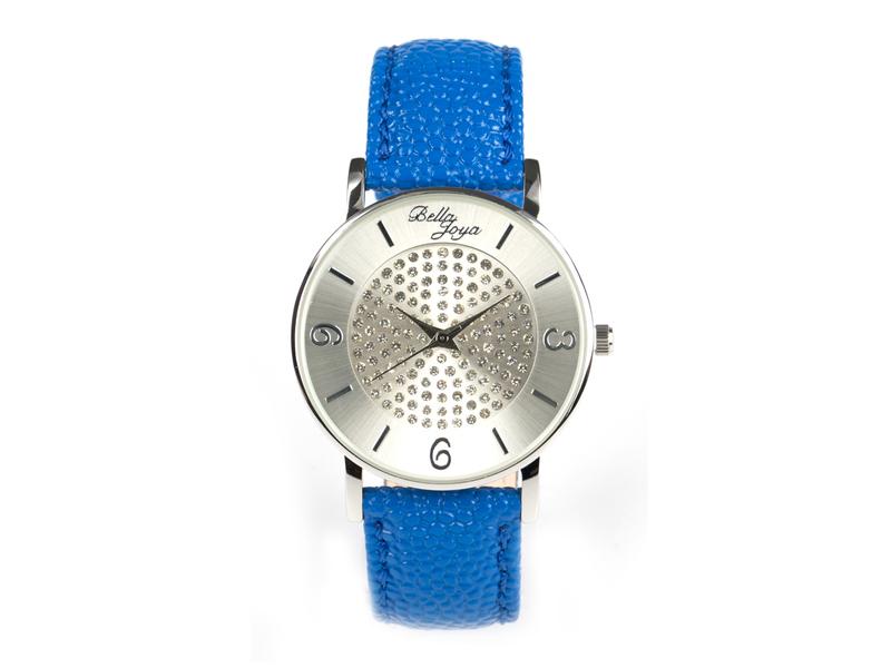 Lu, moderne Damen-Uhr, mit funkelnden Schmucksteinen, Rochen-Struktur-Echtlederband blau