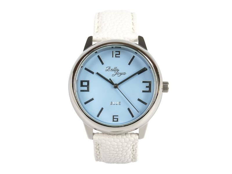 Blue, formschöne Uhr im Retro-Style, Trendfarbe Blau, Rochen-Struktur-Echtlederband weiß