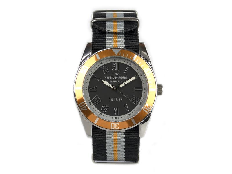 Speed, aktuelle Unisex Armband-Uhr, gestreiftes Natoband, orange Lünette
