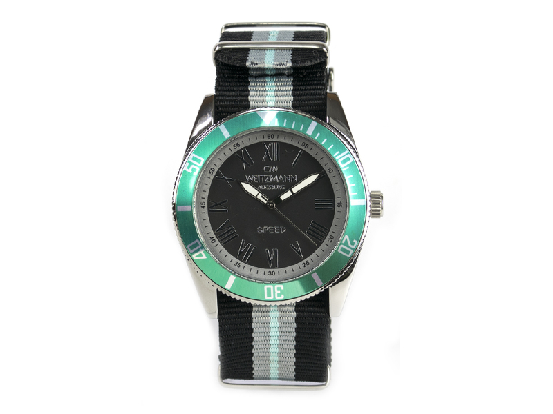 Speed, aktuelle Unisex Armband-Uhr, gestreiftes Natoband, Lünette mint