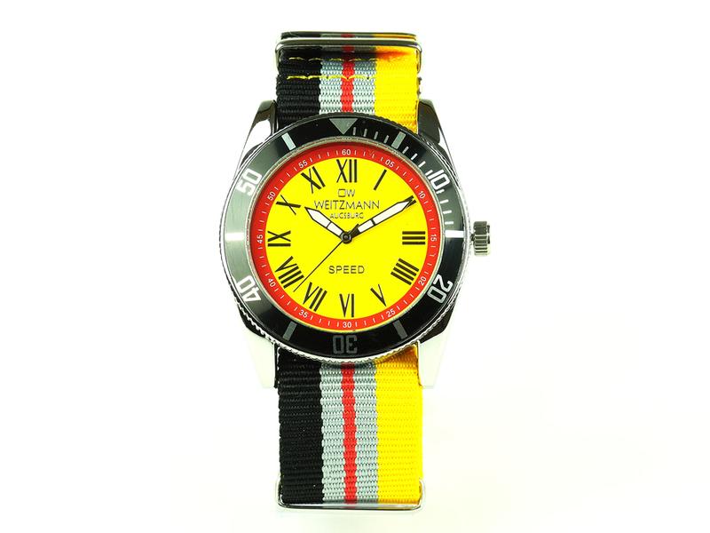 Speed, akuelle Unisex Armband-Uhr, gestreiftes Natoband, schwarze Lünette