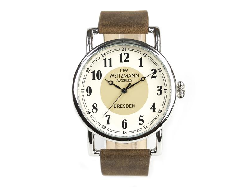Dresden, nostalgische Vintage-Uhr, Echtlederband dunkelbraun
