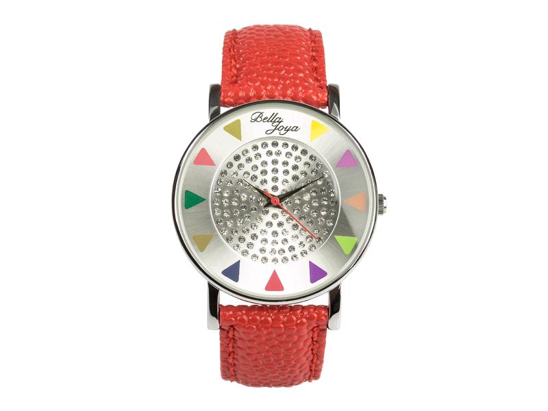 Ibiza silber, stylische Trend-Fashion-Uhr, Echtlederband rot