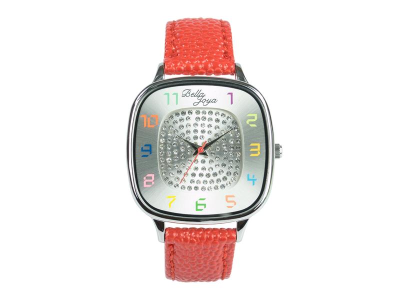 Capri, modische Trend-Uhr, Echtlederband rot