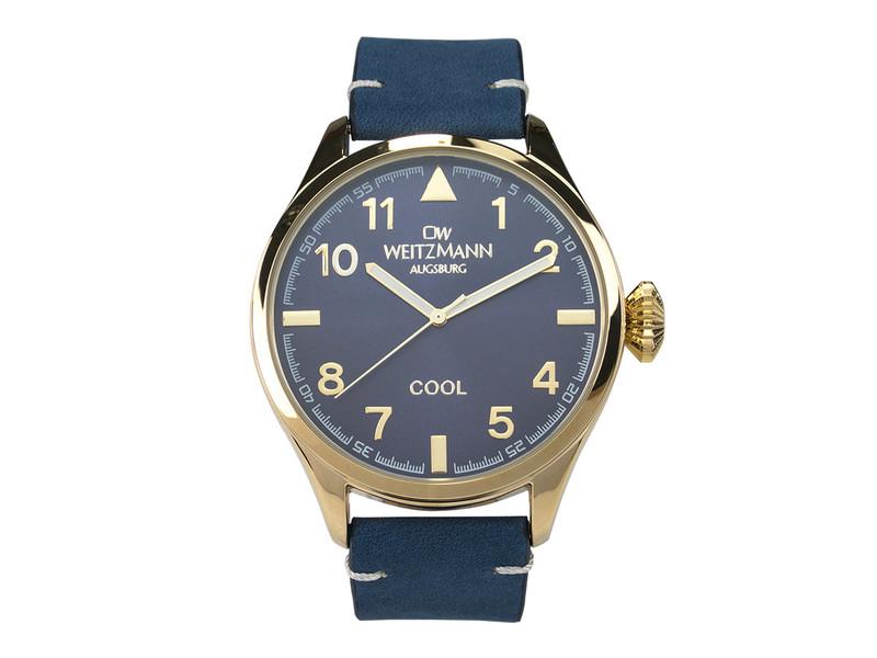 Cool , attraktive Trend-Uhr, gold, Echtlederband blau