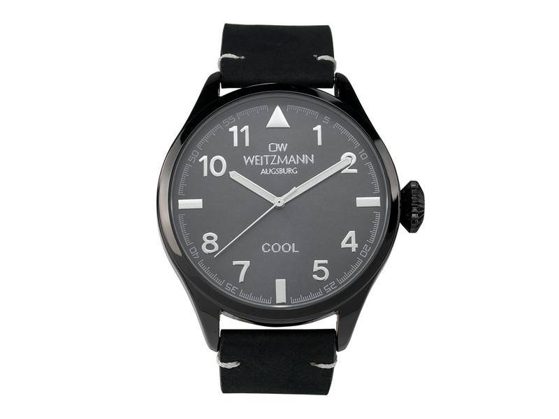 Cool, attraktive Trend-Uhr, schwarz, Echtlederband schwarz
