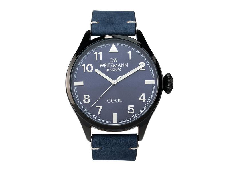 Cool, attraktive Trend-Uhr, schwarz, Echtlederband blau