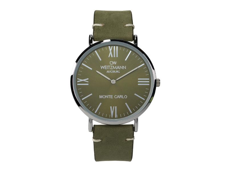 Monte Carlo, topaktuelle Mode-Uhr, mit grünem Zifferblatt, mit Echtlederband olive
