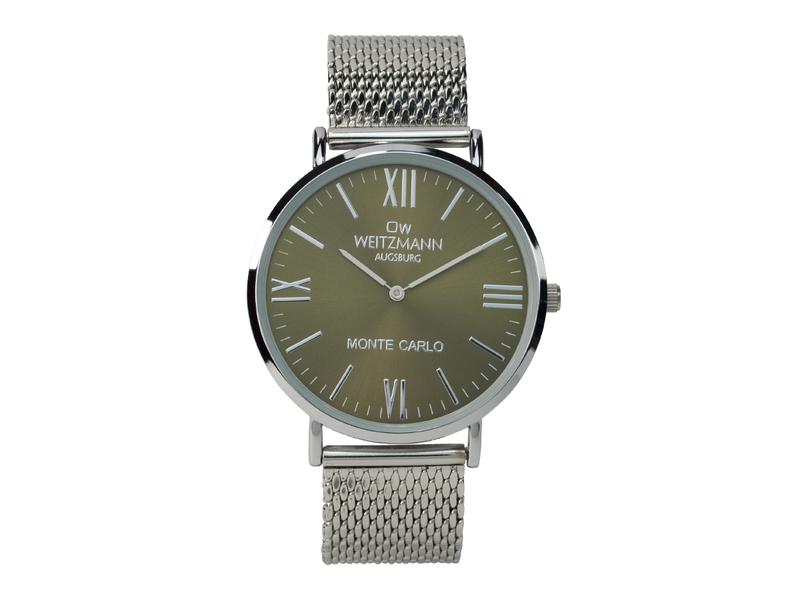 Monte Carlo, topaktuelle Mode-Uhr, mit olivgrünem Zifferblatt, mit Milanaise-Band