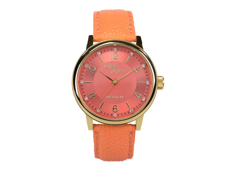 Angelique gold, elegante Mode-Uhr, Echtlederband apricot
