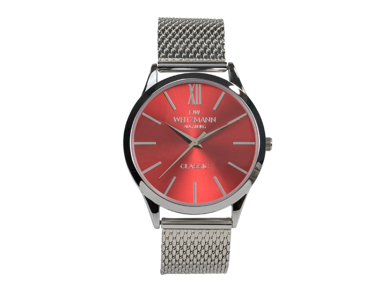 Classic, klassische Herren-Uhr, mit rotem Zifferblatt, Milanaiseband