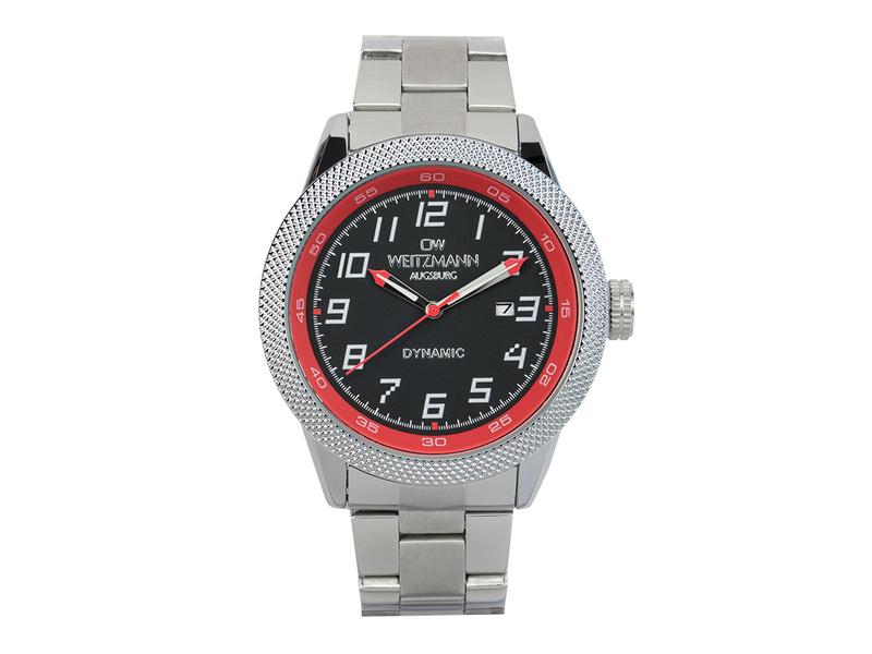 Dynamic, sportlich-elegante Herren-Uhr, schwarz/rot, geriffelte Lünette, Stahlband