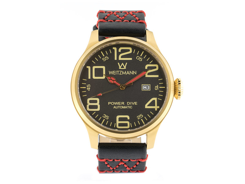 Power Dive, gold/anthrazit, Echtlederband in schwarz mit roter W-Naht