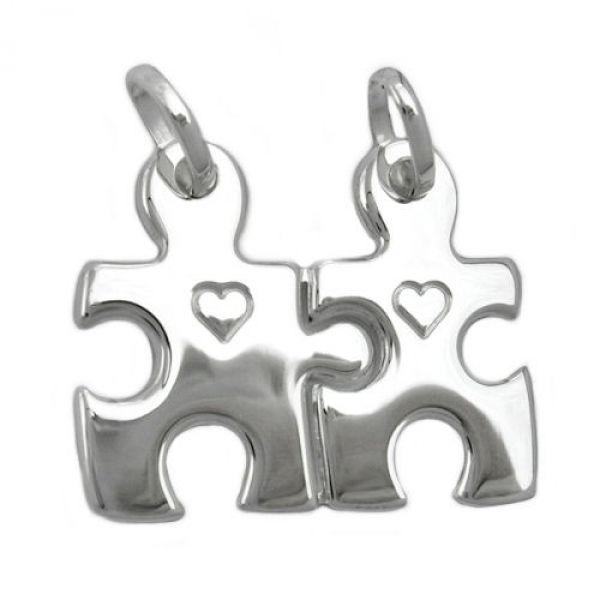 Anhänger, 2 Herzen, Silber 925