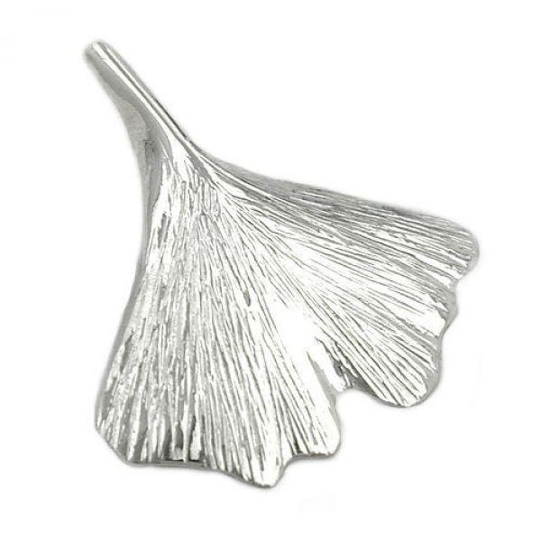 Anhänger, 22mm Ginkgoblatt, Silber 925