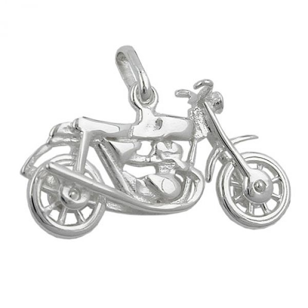Anhänger, altes Motorrad, Silber 925