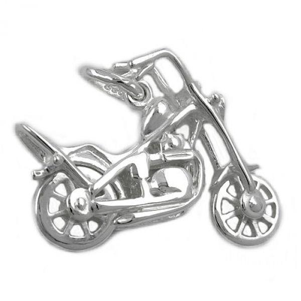 Anhänger, Chopper Motorrad, Silber 925