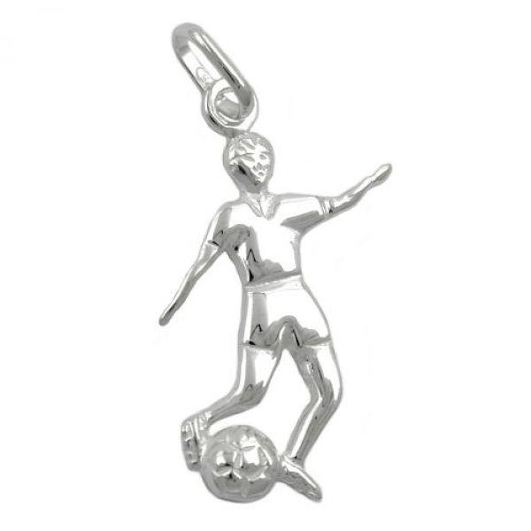 Anhänger, Fußballer u. Ball, Silber 925