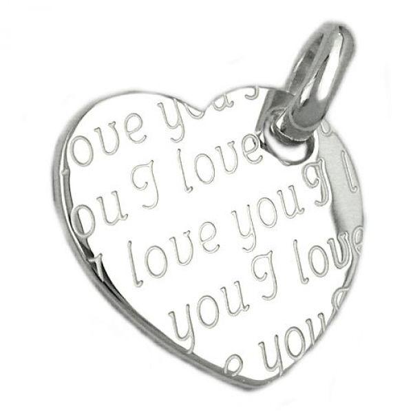 Anhänger, Herz - I love you, Silber 925