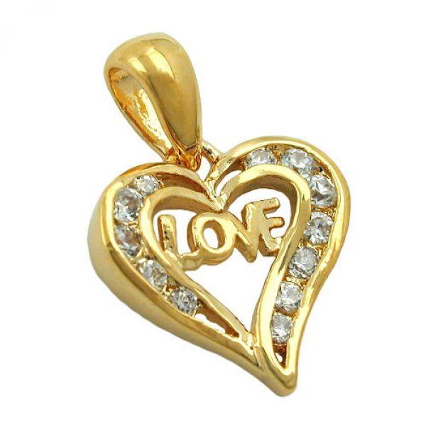 Anhänger, Herz, vergoldet 3 Micron