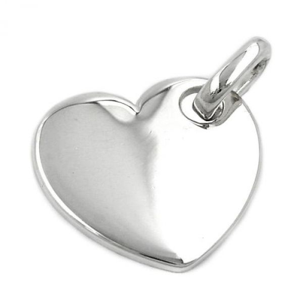Anhänger, Herz glatt-glänzend Silber 925