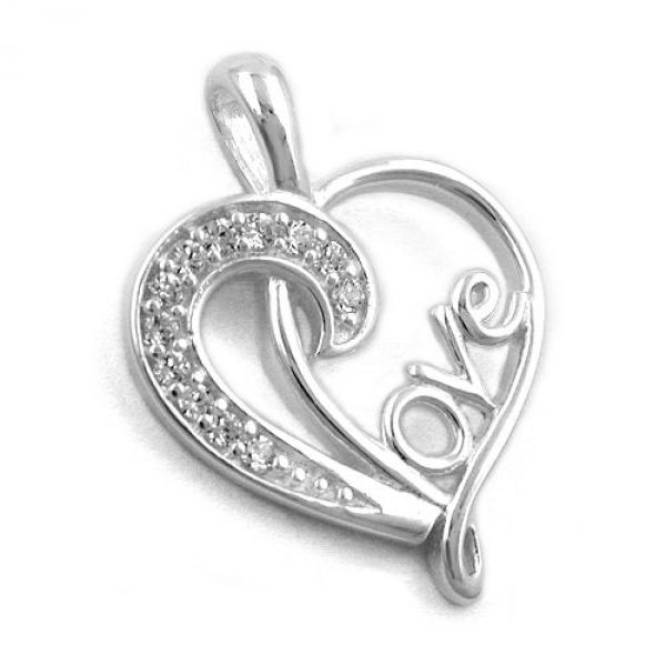 Anhänger, Herz Love Zirkonia, Silber 925