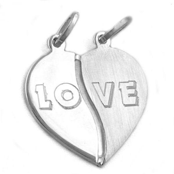 Anhänger, Herz mit 2 Ösen, Silber 925