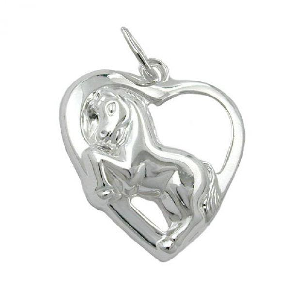 Anhänger, Herz mit Pferd, Silber 925
