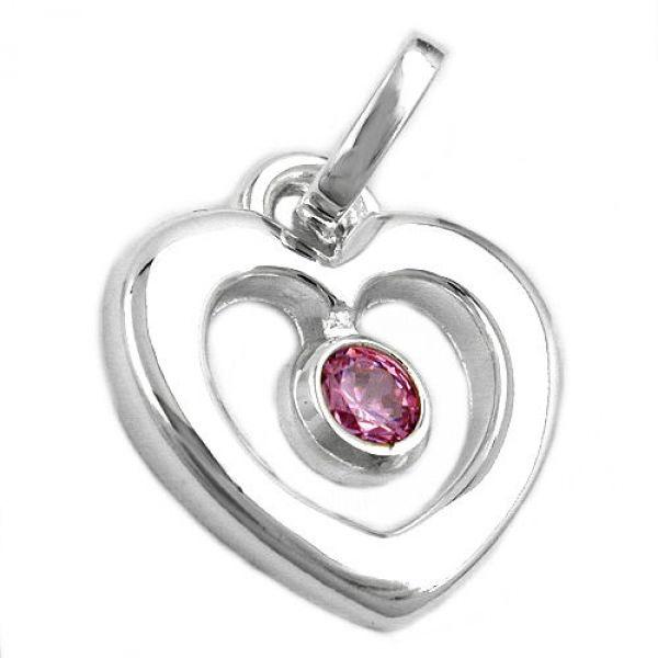 Anhänger, Herz mit rosa Zirkonia, 925