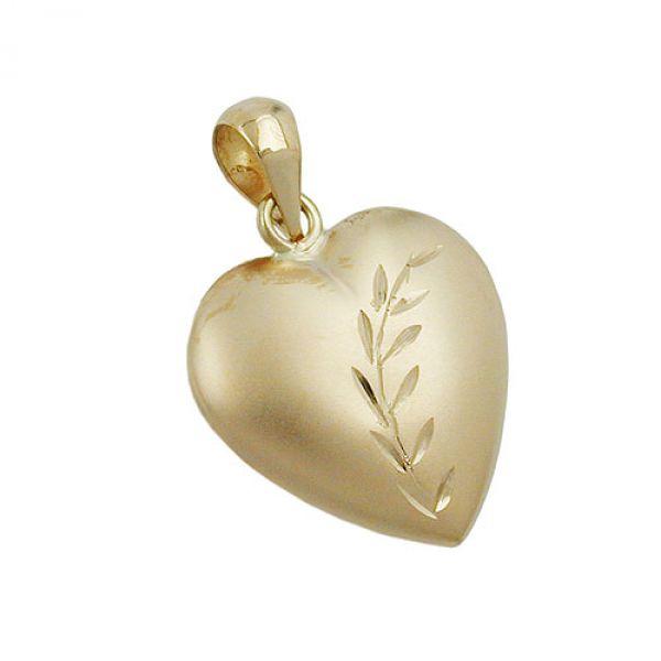 Anhänger, Herz mit Schliff, 9Kt GOLD
