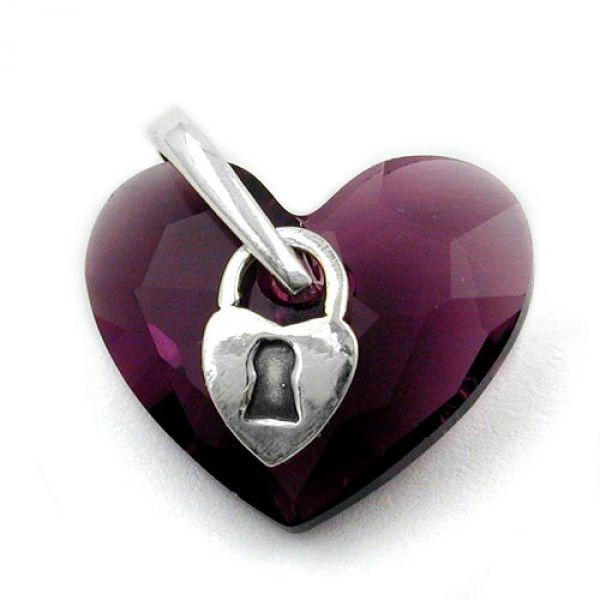 Anhänger, Herz mit Schloß, Silber 925