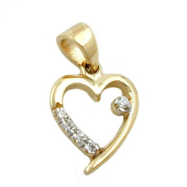 Anhänger, Herz mit Zirkonias, 9Kt GOLD