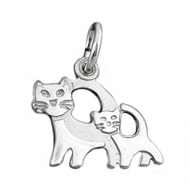 Anhänger, Katzenpaar, Silber 925