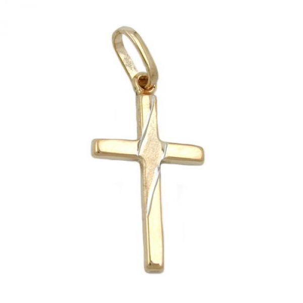 Anhänger, Kreuz bicolor, 9Kt GOLD