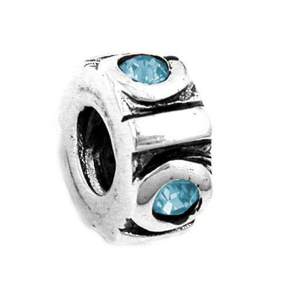 Anhänger, Perle-bead, aqua, Silber 925