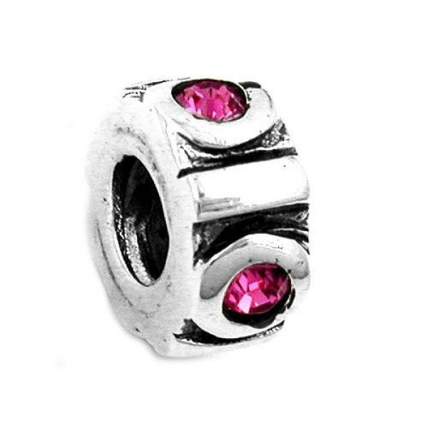 Anhänger, Perle-bead, pink, Silber 925